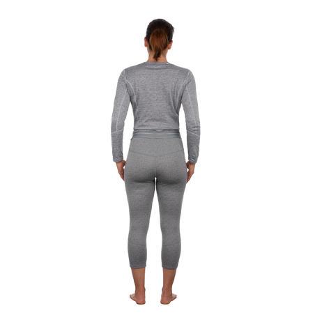 Women's base layer ski bottoms 500 - Grey