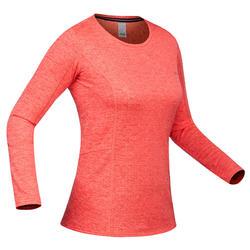 Camiseta térmica Esquí y Nieve Interior Wed'ze 500 Mujer Rojo coral