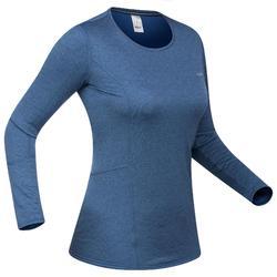 Thermisch ondershirt 500 voor skiën dames blauw
