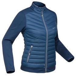 Midlayer van dons voor skiën dames 900 blauw