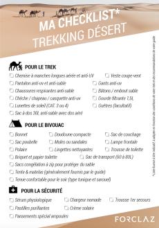 checklist trek dans le desert sahara