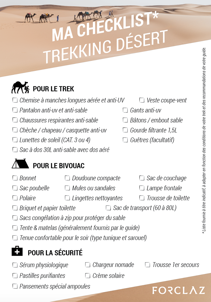 checklist trek desert