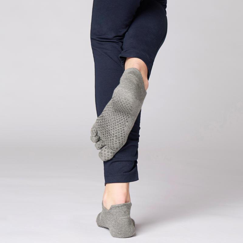 Non-Slip Yoga Toe Socks - Mottled Grey