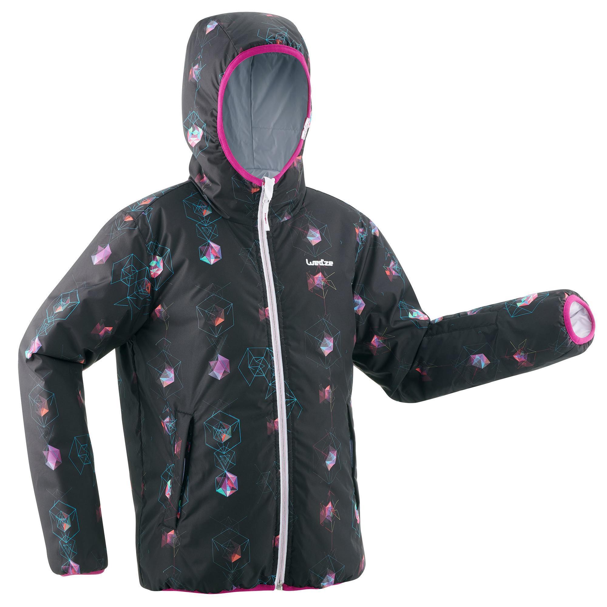 Wed'ze Ski-jas voor kinderen SKI-P JKT 100 Warm Reverse wit print