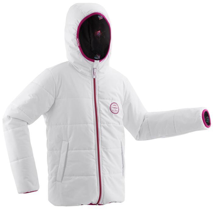 Skijacke Warm wendbar 100 Kinder weiß/schwarz