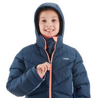 CHILDREN'S SKI JACKET WARM 500 - NAVY AND CORAL