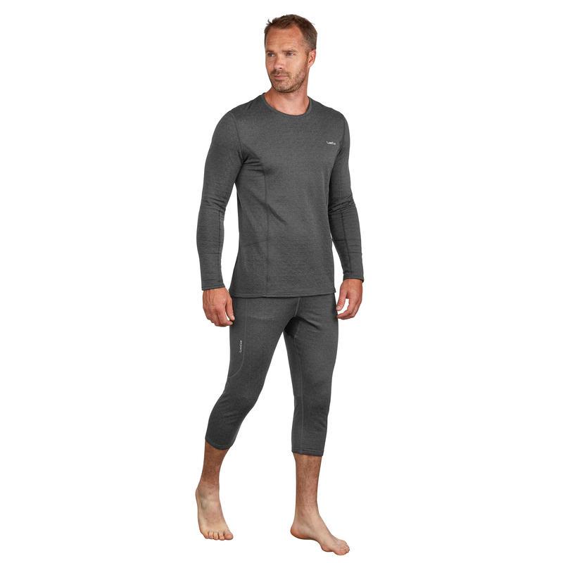 Men's base layer ski bottoms 500 - Grey