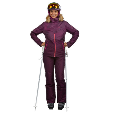 WOMEN'S DOWNHILL SKI TROUSERS 180 - PLUM