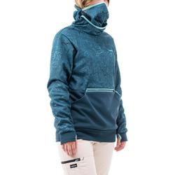 Hoodie sweater snowboard en ski SNB HDY vrouw grafisch turquoise