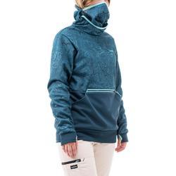 Jersey Hoodie de snowboard y esquí SNB HDY mujer grafismo azul turquesa