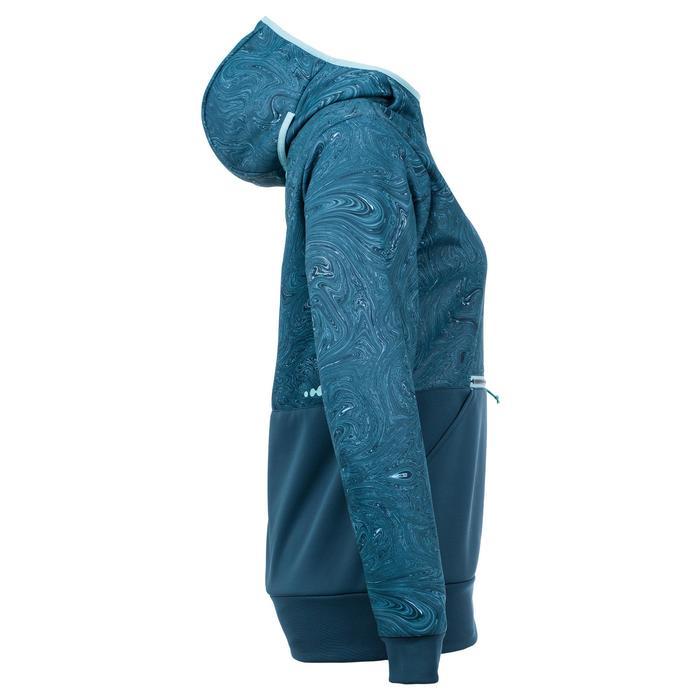 Hoodie sweater snowboard en ski SNB HDY vrouw grafisch turquoise