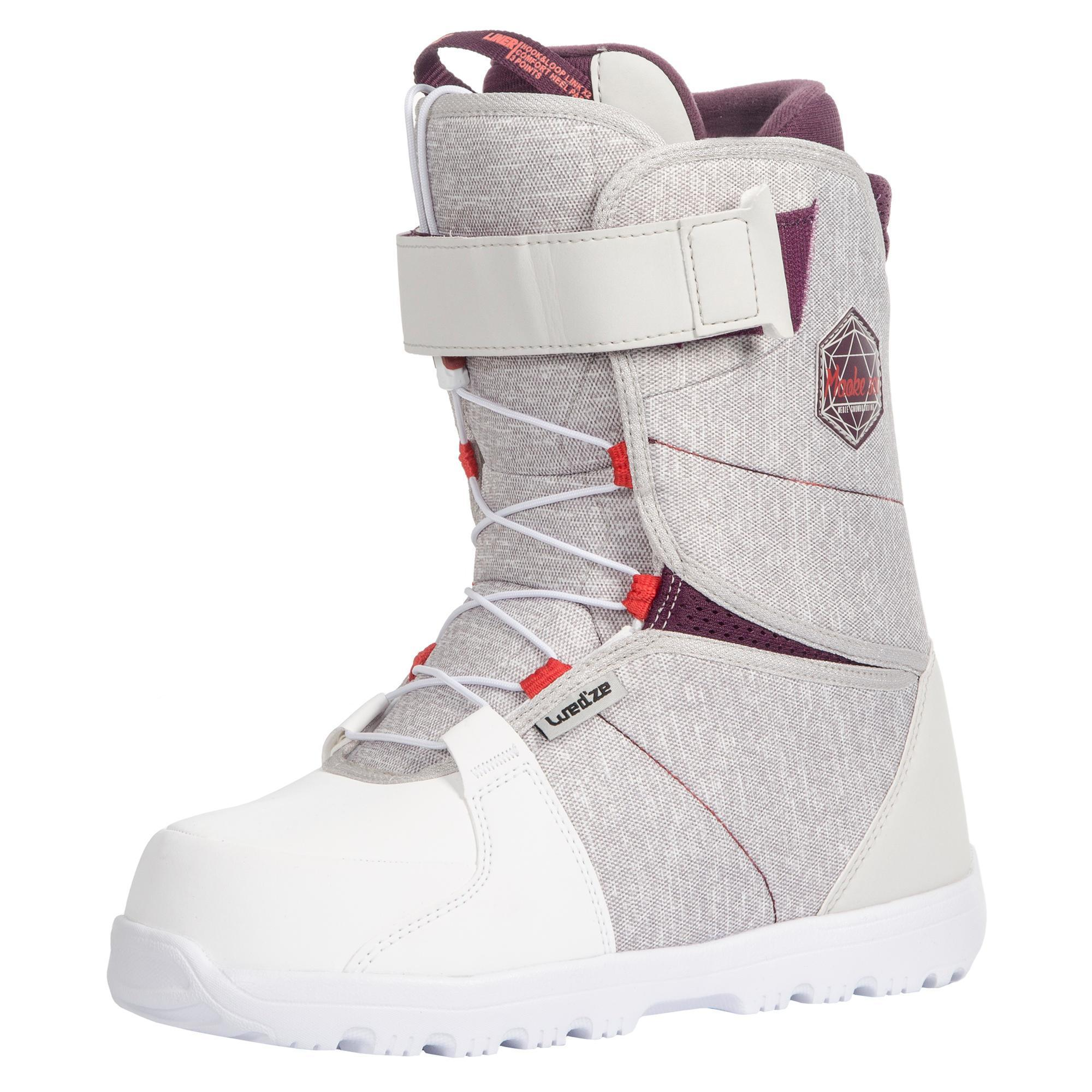 Wed'ze All mountain snowboardboots voor dames Maoke 300 - Fast Lock 2Z wit thumbnail