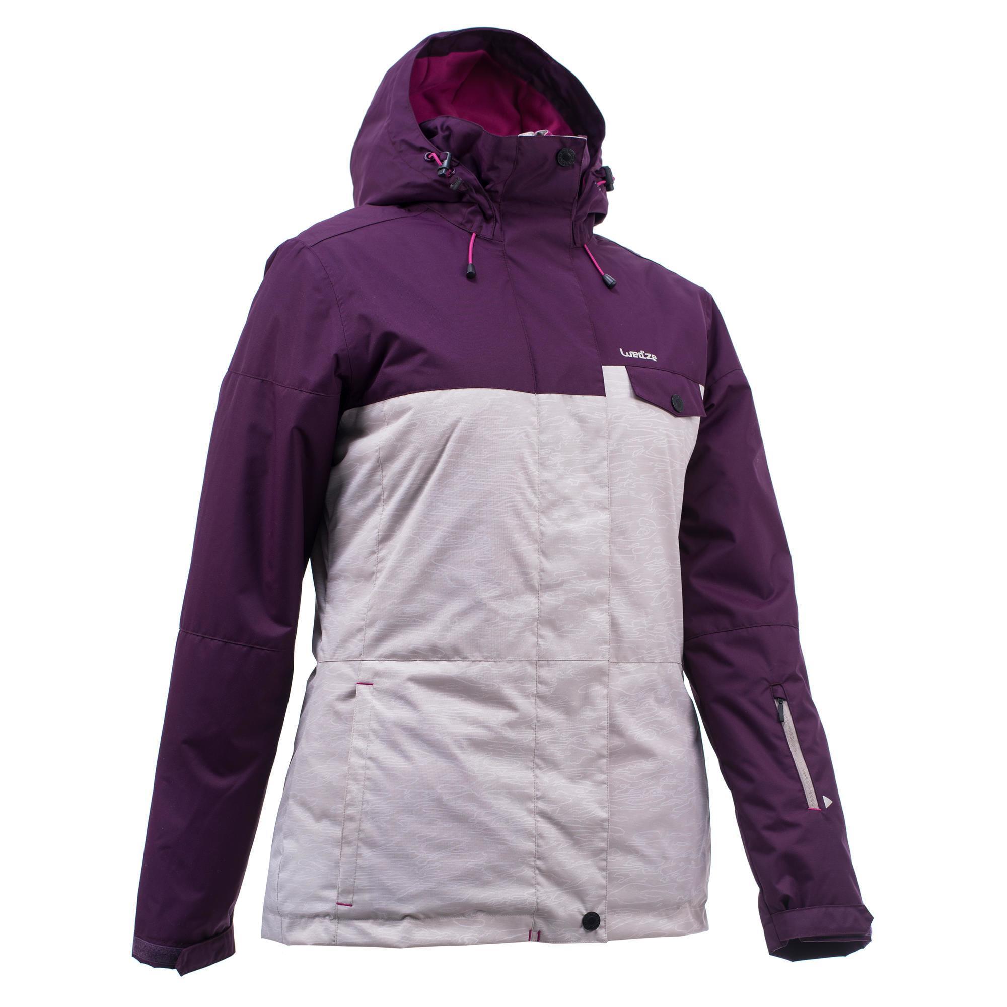 Wed'ze Ski- en snowboardjas SNB JKT 100 voor dames beige en paars thumbnail