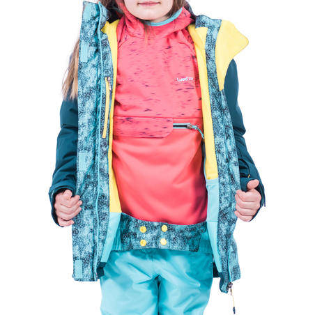Girls' Snowboard and Ski Jacket SNB 500 - Blue and Turquoise