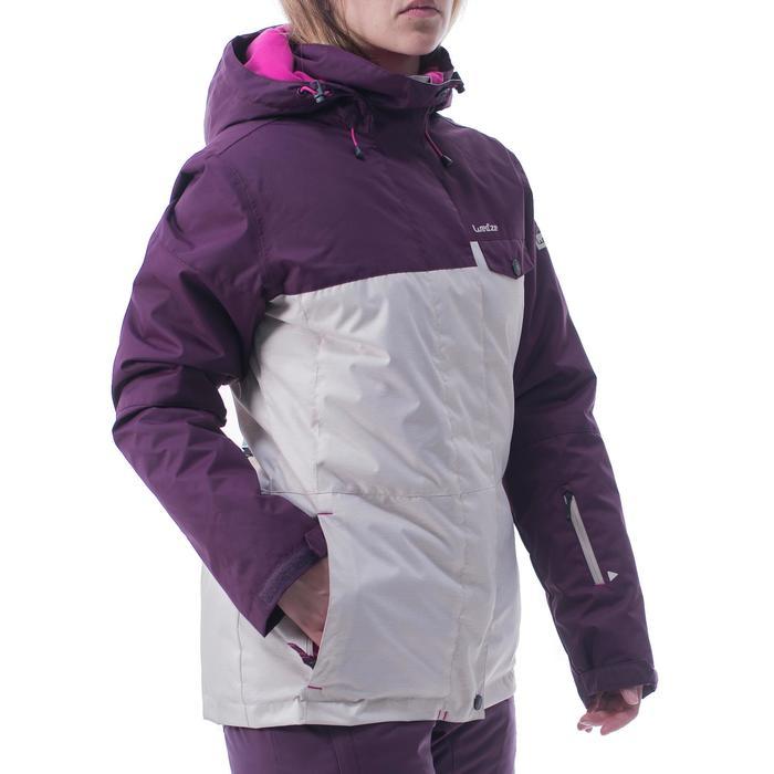 Chaqueta snowboard y esquí mujer SNB JKT 100 beige y ciruela