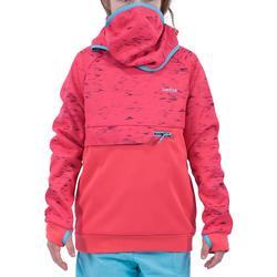 Sweatshirt de snowboard et de ski SNB HDY fille rose fraise