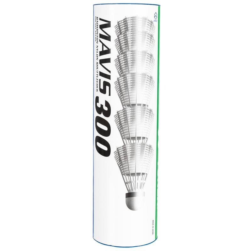 Badminton Plastic Shuttlecocks Mavis 300 6-Pack - White