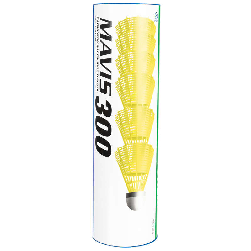 PLASTIC SHUTTLECOCKS Badminton - Mavis 300 Badminton Nylon Shuttlecock 6 pack - Medium - Yellow YONEX - Badminton
