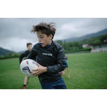 Trainingsjacke Rugby Smocktop winddicht wasserdicht Kinder schwarz