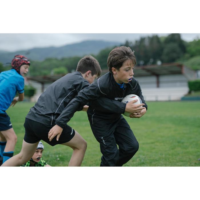 Wind- en waterdichte smockpant voor rugby kinderen R500 zwart