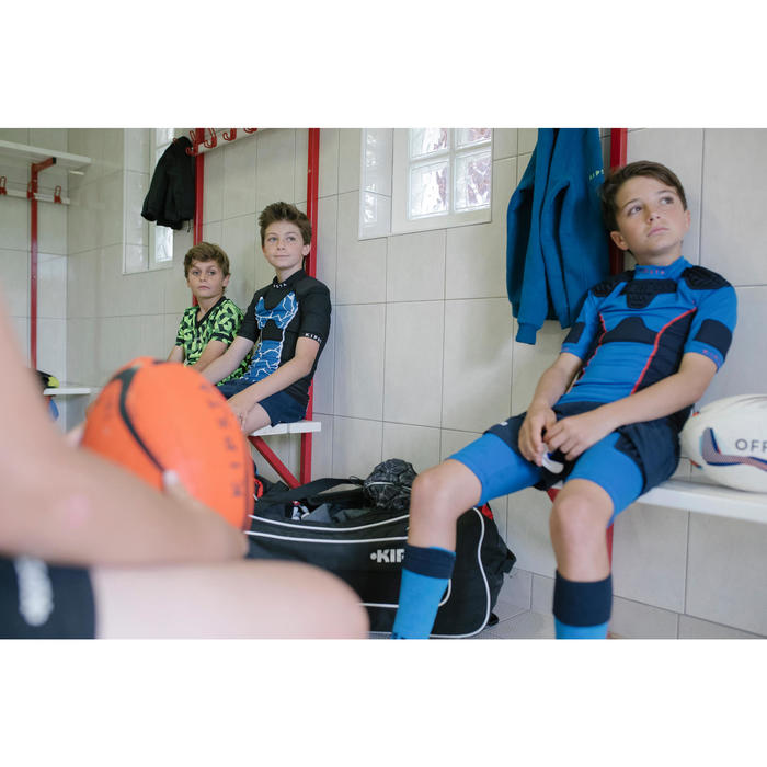 Beschermende ondershort voor rugby kinderen R500 blauw