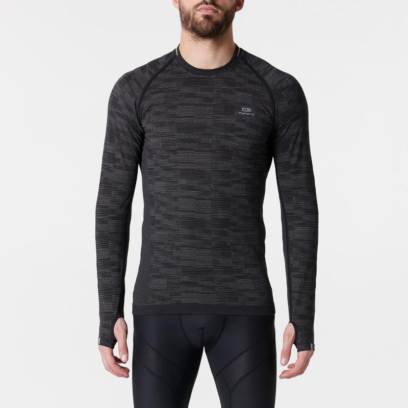 KIPRUN SKINCARE MEN'S LONG-SLEEVED BREATHABLE RUNNING T-SHIRT - BLACK