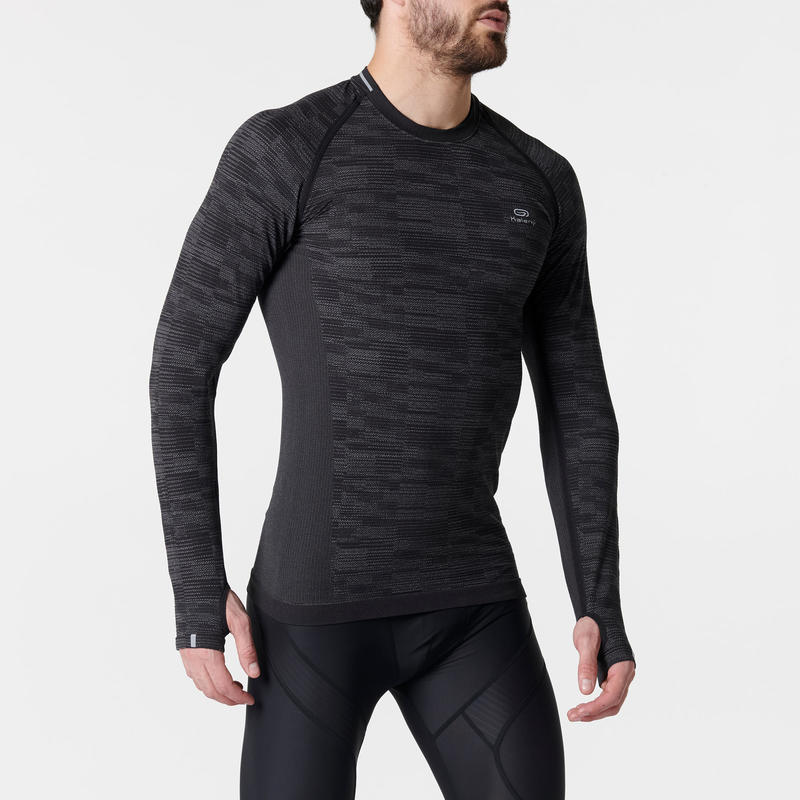 KIPRUN SKINCARE MEN'S LONG-SLEEVED BREATHABLE RUNNING T-SHIRT - BLACK