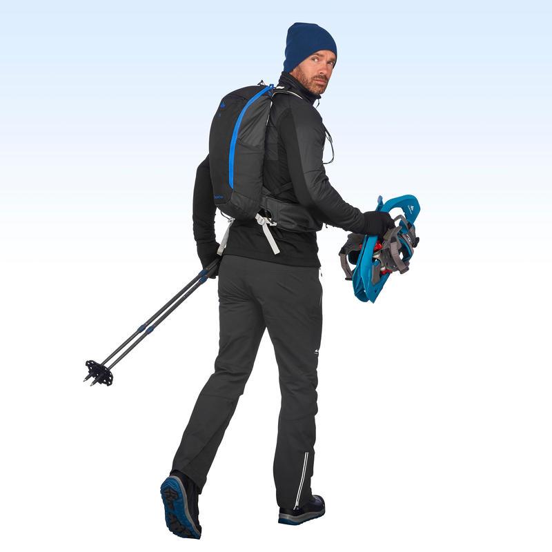 Chaqueta polar híbrida de hiking nieve hombre SH900 X-warm negra.