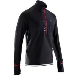 Warm loopshirt met lange mouwen en rits voor heren Kiprun regular zwart/rood