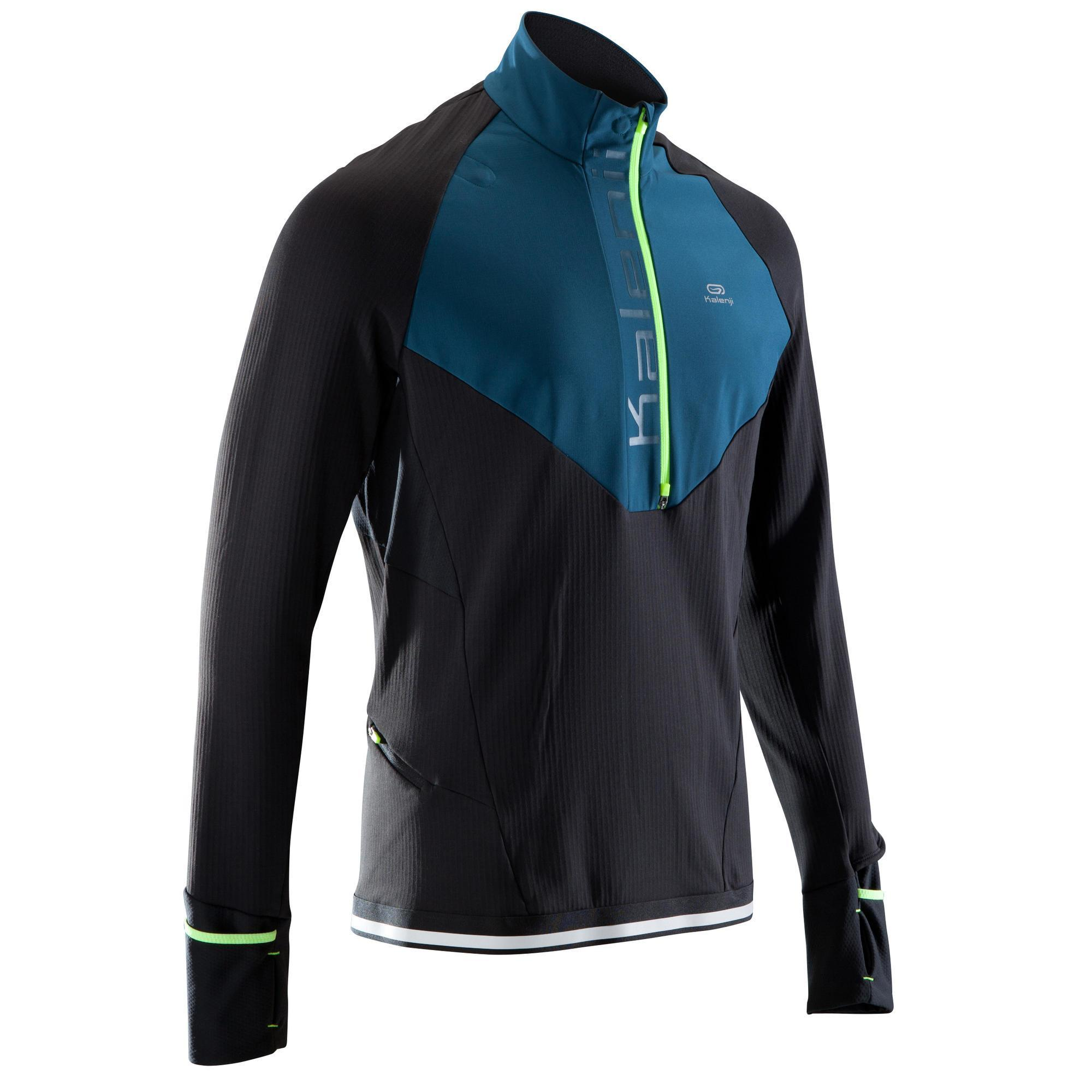 Kalenji Warm loopshirt met lange mouwen en rits voor heren Kiprun regular zwart/blauw