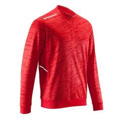 男款跑步長袖T恤RUN WARM - 中國紅