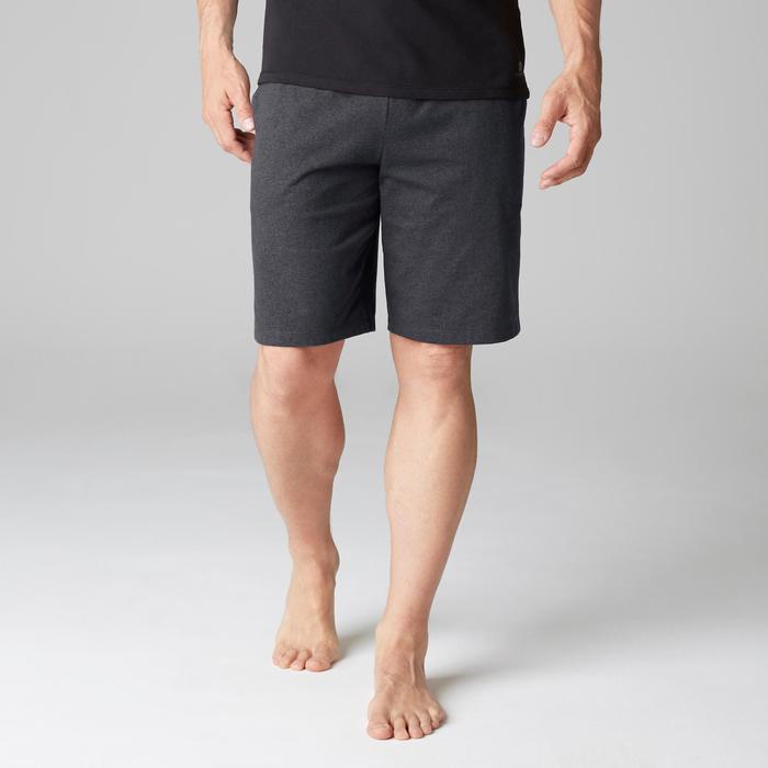 Pantalón Corto Deportivo Gimnasia Pilates Domyos 520 Slim Hombre Gris Oscuro
