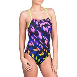 Bañador de natación una pieza para mujer resistente al cloro Lidia Meda amarillo