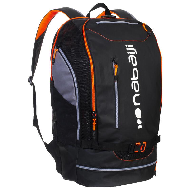 Mochila Natación 900 Negro/Naranja Fluorescente 40l