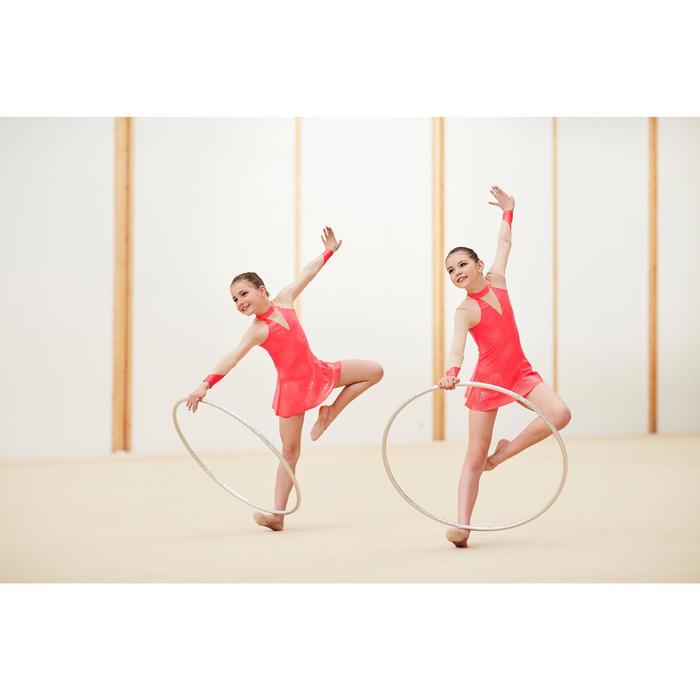 Justaucorps jupette à manches longues de Gymnastique Rythmique Corail Pailleté