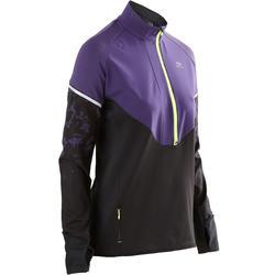 女款跑步運動長袖上衣KIPRUN WARM REGUL黑色/紫色