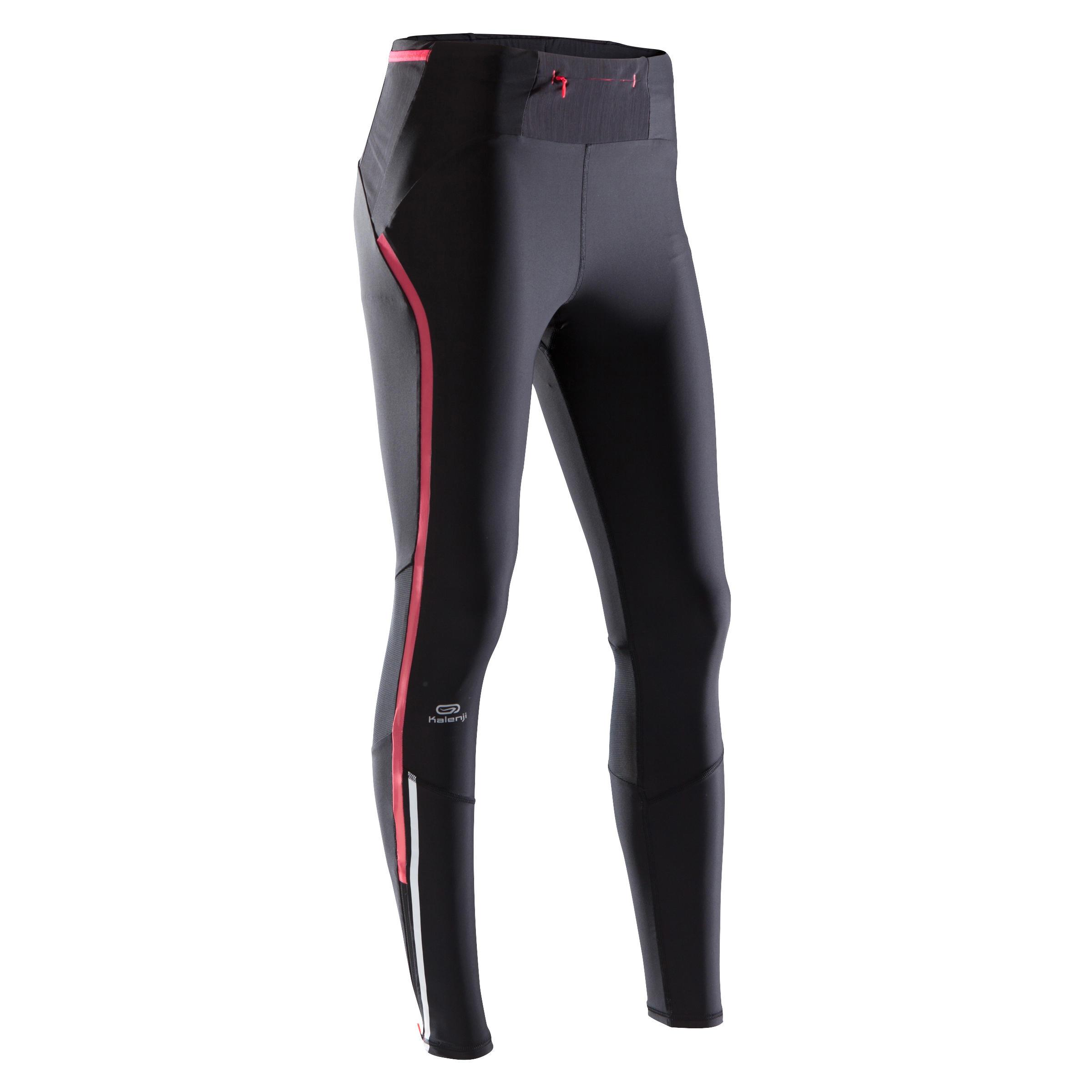Laufhose lang Tights Kompression Kiprun Damen schwarz/rosa | Sportbekleidung > Sporthosen > Laufhosen | Schwarz - Rot - Rosa | Kalenji