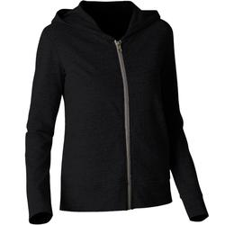100 Hooded Pilates Gentle Gym Jacket - Black