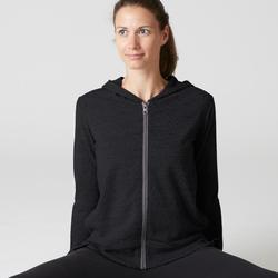 Dameshoodie met rits voor pilates en lichte gym 100 zwart