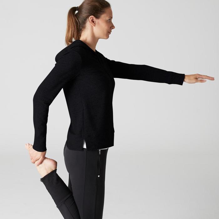 Dameshoodie met rits 100 voor gym en stretching zwart