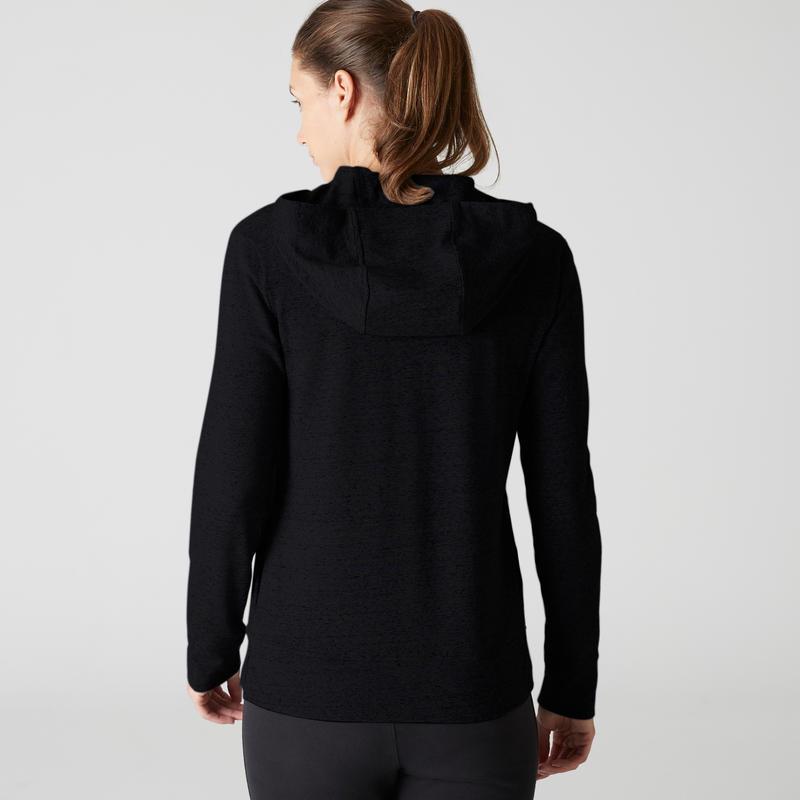 100 Hooded Pilates Gentle Gym Jacket - Black