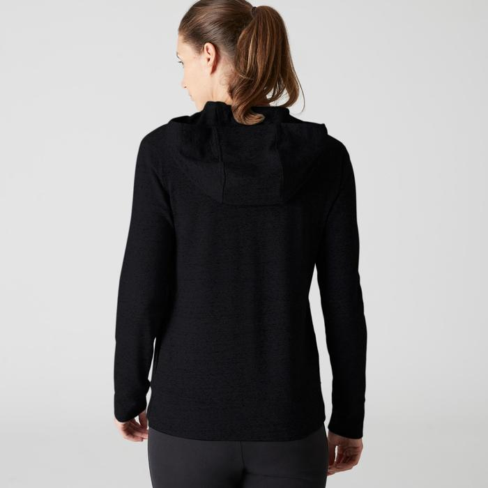 Kapuzenjacke 100 Pilates sanfte Gymnastik Damen schwarz