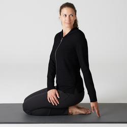 Dameshoodie 100 met rits voor pilates en lichte gym zwart