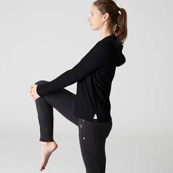 Chaqueta 100 capucha Pilates y Gimnasia suave mujer negro