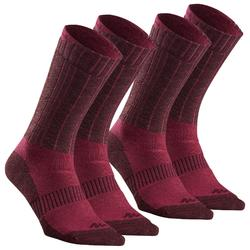 Adult warm hiking socks SH500 ultra-warm mid - pink X2 pairs