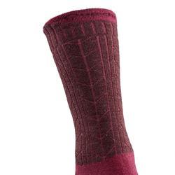 Adult warm hiking socks SH500 ultra-warm mid - pink X2 pairs