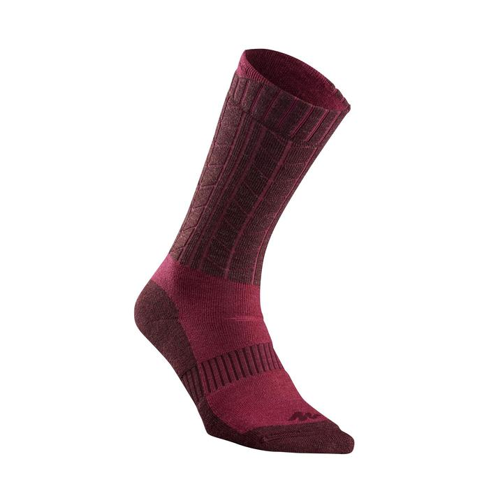 Calcetines cálidos de senderismo adulto SH500 ultra-warm mid rosa x 2 pares