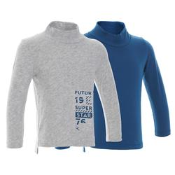 500 Long-Sleeved Baby Gym T-Shirt Twin-Pack - Grey/Blue