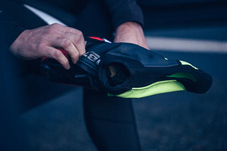 500 RoadR Sport Cycling 3 mm Overshoes - Neon Yellow