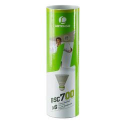 Badminton shuttle BSC700 wit 6 stuks